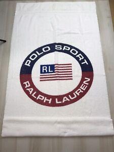 Ralph Lauren Polo Sport White Beach Towel USA Flag Rare