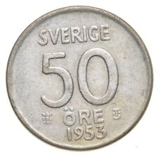 SILVER Roughly the Size of a Nickel 1953 Sweden 50 Ore World Silver Coin *639