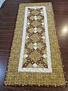 """Hand Made Quilted Table Runner/ Topper / Mat ~Gold & Brown~ 15.5"""" x 36.5"""""""