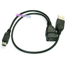 Court 30cm Micro USB B mâle vers USB OTG Femme + USB Câble de charge Y Splitter