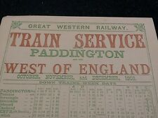 GWR Train Service Schedule, Paddington And The West Of England, Repro.