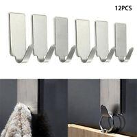 12PCS Self Adhesive Home Kitchen Wall Door Stainless Steel Holder Hook Hanger