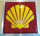 "Vintage Original Shell Oil Co Embossed 26"" Sign in a Plasti-Line Aluminum Frame"