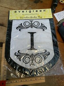 """I Initial Welcome Personalized Garden Flag 12""""x18"""" White & Black"""