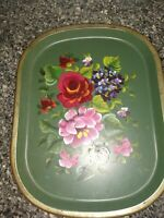 Nashco hand painted tray, Green Floral Beauty. Must See