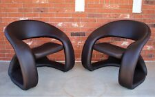 Pair of Mid Century Modern Dark-Brown Textured Faux Leather Ribbon Chairs