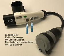 Renault Twizy  Ladekabel 16 A Typ 2 auf Schuko Adapter f. Ladesäule Typ2