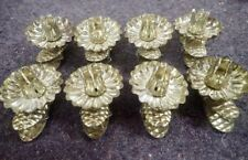 set of 8 vintage Christmas Tree Clip-On Candleholders Pinecone Style Swivel Head