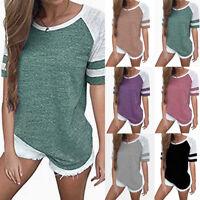 Women Summer Short Sleeve Baseball Shirts Basic Tee Causal Blouse T-shirt Tops