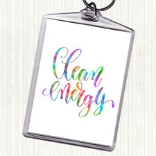 Clean Energy Rainbow Quote Bag Tag Keychain Keyring