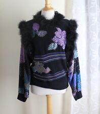 Diane Freis Sz S M - Original Funky Art-to-Wear Fluffy Angora Silky Sweater Top
