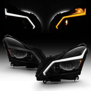 [DARKEST SMOKE] Neon Tube Projector Headlights For 10-13 Infiniti G37 G25 Sedan