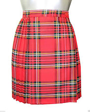 """Ladies Tartan Pleated Wrap Over Buttoned Kilt Skirt 18"""" Inches Skirts Size 8-18 Red 18"""