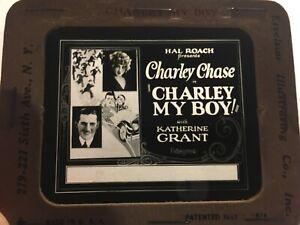 Charlie Chase Very Rare Original Movie Magic Lantern Slide '26 Charlie My Boy!
