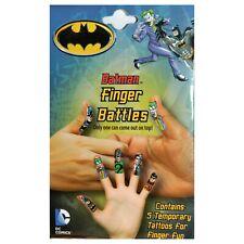 BATMAN 5pc Temporary Tattoos FINGER BATTLES Fun For Boys JOKER+ROBIN+TWO-FACE+