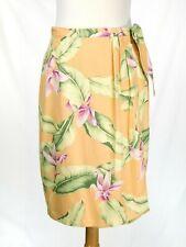 NWT Tommy Bahama Silk Wrap Skirt Size 8 Hawaiian Floral Peach Orange Sarong NEW