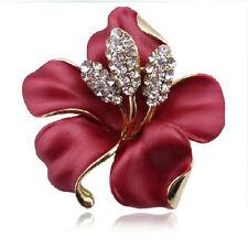 rosso con bianco strass diamante elegante da Bouquet Fiore spilla BR165