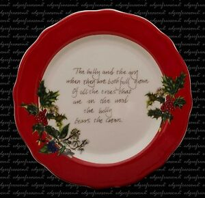 PORTMEIRION THE HOLLY AND THE IVY SIDE  DESSERT PLATE RED BORDER