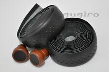 GYES Seamless Drop Handlebar Holes Leather Bar Tape Wrap Wooden-plug - Black