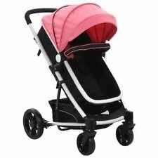 vidaXL Kinderwagen/Buggy 2-in-1 Aluminium Roze Zwart Kinderwagens Wandelwagen