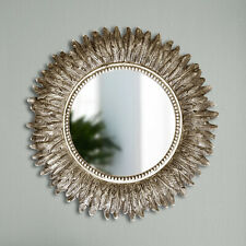 40cm Round Silver Feather Effect Wall Mirror Living Room Bedroom Hallway Vanity