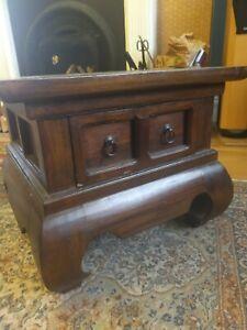 Oriental hardwood coffee table - small square sturdy