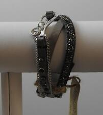"""Trio Band Message I Can I Will Leather Crystal Metal Stackable Bracelet 8"""" GD3"""