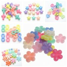 100 Mixed Pastel Color Acrylic Beads Charm Various Shape Flower Heart Kids Craft