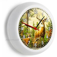 WILD ANIMALS WHITETAIL DEER BUCK ANTLERS WALL CLOCK BEDROOM HUNTING CABIN DECOR