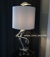 New Ibis Table Lamp Ostrich Bird Light Silver & White Crane Safari Desk Bedroom