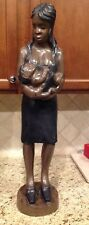 "33 1/2"" Wooden Woman Holding Baby Handcrafted in Ghana"