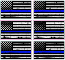 Thin Blue Line American Flag Distressed Police Vinyl Helmet Sticker Decal x 6