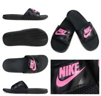 Nike Benassi JDI Black Pink 343881-061 Slides Sandals Flip Flops Women's Size 10