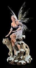Elfen Figur - Enela mit weißem Tiger - Fee Statue