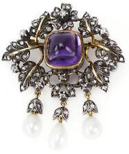 3.70cts Rose Cut Diamond Amethyst Pearl Victorian Look 925 Silver Brooch Pin