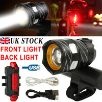 Rechargeable 15000LM XM-L T6 LED MTB Bicycle Lights Bike Front+Rear Headlight C6