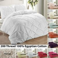 Pintuck Pinch Pleat Quilt Duvet Cover Bedding Set Single Double King Super King