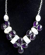 "Rainbow Moonstone & Russian Amethyst bib Silver plate Necklace 18 stones 20"""