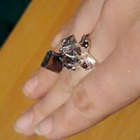 Natural Bismuth and Garnet 925 Sterling Silver Ring Size 8.5