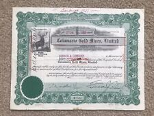 British Columbia- Columario Gold Mines Limited Stock Certificate 1931