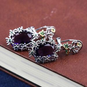 Daisy Flower 925 Silver Earrings Alexandrite Dangle Drop Hook Women Earrings