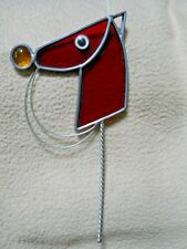 Vintage Stained Lead Glass Stick Horse Suncatcher