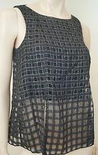 THEORY Black Wool Silk Silver Metallic Thread Check Sleeveless Top Sz:S/P BNWT