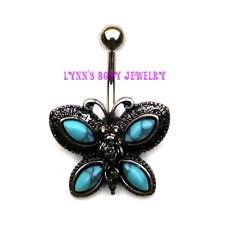 Antique Turquoise Butterfly Stainless Steel Non Dangle Belly Navel Ring