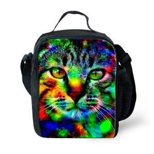 Animal Cat Lunch Containers Cooler Lunchbags Shoulder School Bento Box Totes