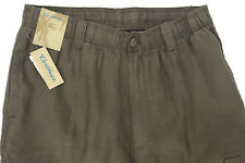 Caribbean 100 Linen Casual Drawstring Men Pants Flat Cargo Brown 36x32