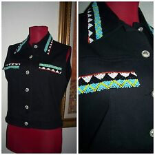 "Women's "" Christine Philllipe "" Native Beautifully Beaded Accented BLK Vest 6"