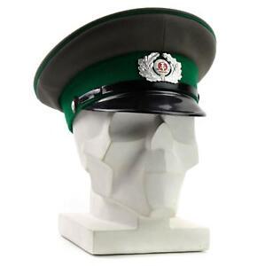 Original German NVA army visor hat. Grey East German military peaked cap Green