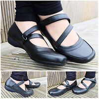 New Ladies Womens Cross Over Strap ANNI Mary Jane Smart Work Shoes UK Sizes 3-8