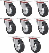 """Set of 8 Plate Casters with 3"""" Rubber Wheels Base All Swivel"""